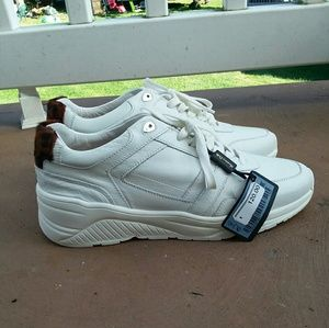 Zara white leather sneakers size 39 new